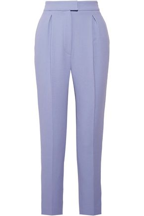 EMILIA WICKSTEAD Clive pleated wool-crepe tapered pants