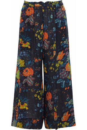 RAQUEL ALLEGRA Floral-print silk-gauze wide-leg pants