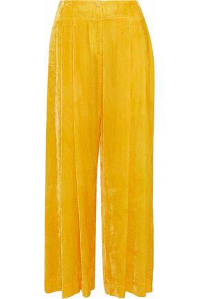 RAQUEL ALLEGRA Pleated crushed-velvet culottes