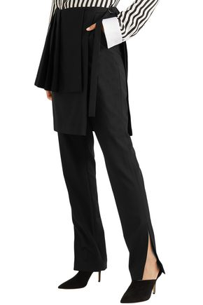 ADEAM Layered pleated stretch-crepe straight-leg pants