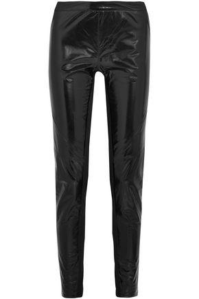 GARETH PUGH Stretch jersey-paneled glossed-leather skinny pants
