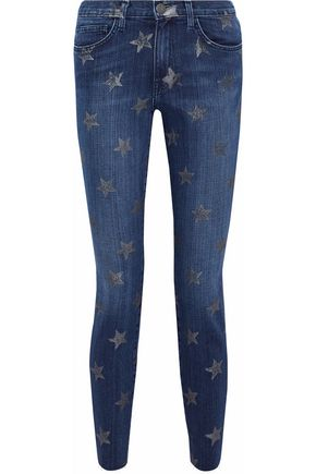CURRENT/ELLIOTT Printed high-rise skinny jeans