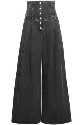 SARA BATTAGLIA Button-detailed high-rise wide-leg jeans