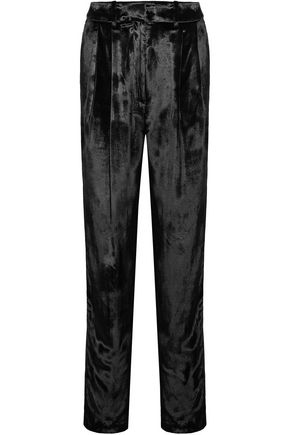 Pleated Velour Tapered Pants