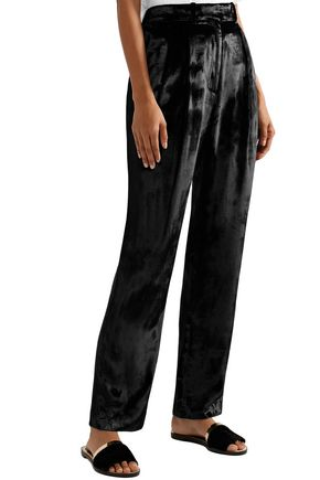 ADAM LIPPES Pleated velour tapered pants