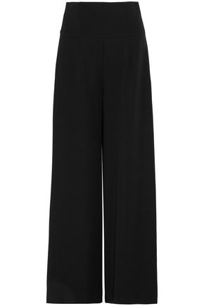 ADEAM Lace-up washed-crepe wide-leg pants