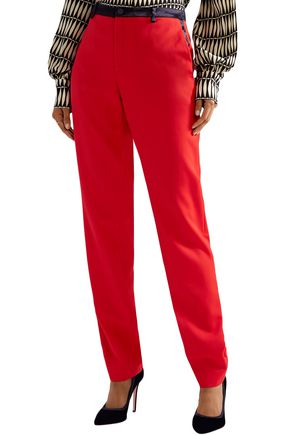 LANVIN Satin-trimmed wool-twill straight-leg pants