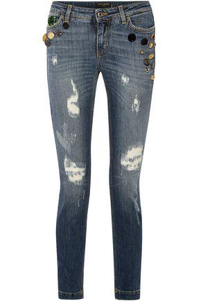DOLCE & GABBANA Appliquéd distressed mid-rise skinny jeans