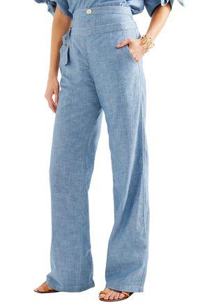 CHLOÉ Cotton-chambray wide-leg pants