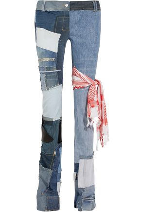 RONALD VAN DER KEMP Distressed patchwork low-rise bootcut jeans