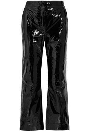 OFF-WHITE™ Cropped suede-appliquéd patent-leather wide-leg pants