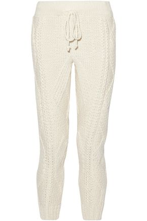 ADAM LIPPES Cable-knit wool and cashmere-blend tapered pants