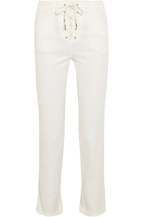 CHLOÉ Lace-up cropped high-rise slim-leg jeans