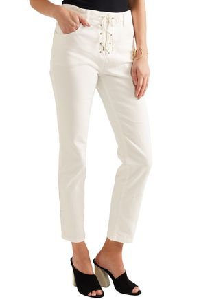 CHLOÉ Lace-up cropped high-rise slim-leg jeans