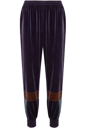 KOCHÉ Paneled velvet track pants