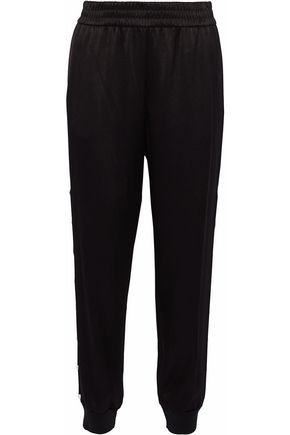 ALICE + OLIVIA Faux pearl-embellished satin-crepe track pants