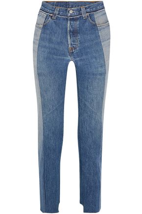 VETEMENTS + Levi's distressed high-rise straight-leg jeans