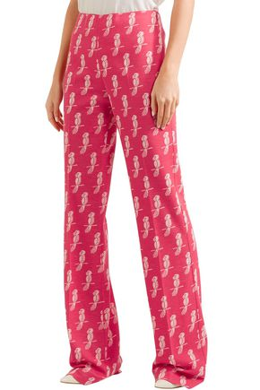 MIU MIU Intarsia wool-blend bootcut pants