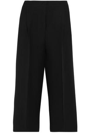 FENDI Cropped wool and silk-blend crepe wide-leg pants