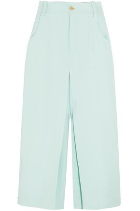 CHLOÉ Cropped pleated crepe wide-leg pants