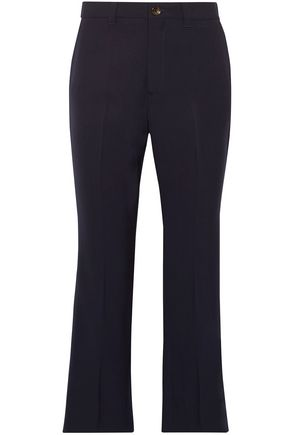 MIU MIU Cropped grain de poudre stretch-wool flared pants