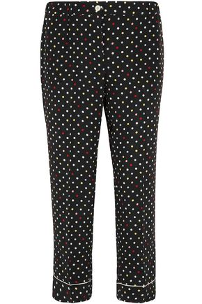 MIU MIU Cropped polka-dot silk crepe de chine straight-leg pants