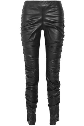 THE ROW Ruched leather leggings