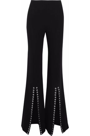 CINQ À SEPT Viera eyelet-embellished flared crepe pants