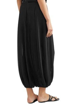 CHLOÉ Cropped plissé-georgette wide-leg pants