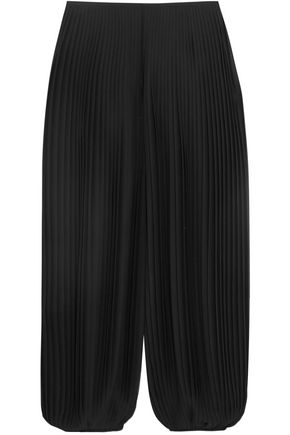 CHLOÉ Cropped plissé-georgette wide-leg pants