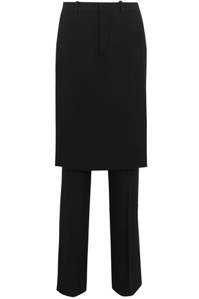 GIVENCHY Layered wool-crepe straight-leg pants