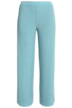 MISSONI Cropped metallic knitted straight-leg pants