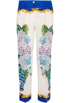 DOLCE & GABBANA Printed silk crepe de chine straight-leg pants