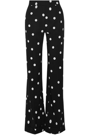 MONSE Printed stretch-silk wide-leg pants