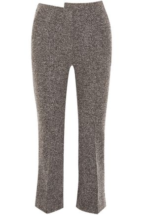 ATLEIN Cropped wool-blend tweed bootcut pants