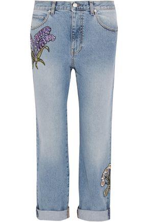 ALEXANDER MCQUEEN Appliquéd distressed mid-rise straight-leg jeans