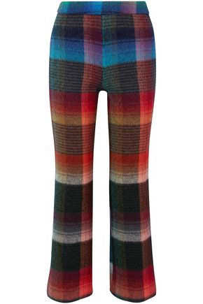 MISSONI Checked mohair-blend bootcut pants