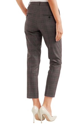 MICHAEL KORS COLLECTION Samantha checked wool-blend straight-leg pants