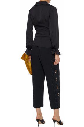 ALICE + OLIVIA Cropped guipure lace-appliquéd crepe straight-leg pants