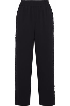 ALICE + OLIVIA Cropped guipure lace-appliquéd crepe straight-leg pants