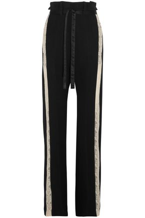 ANN DEMEULEMEESTER Lace-trimmed wool-blend wide-leg pants