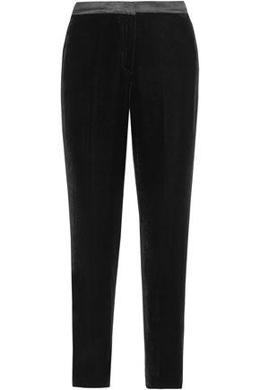 Silk Satin Trimmed Velvet Tapered Pants by Oscar De La Renta