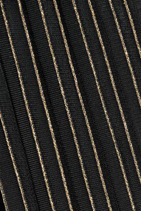 BALMAIN Pleated metallic striped stretch-knit wide-leg pants