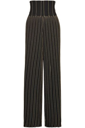 BALMAIN Pleated metallic striped stretch-knit wide-leg pants
