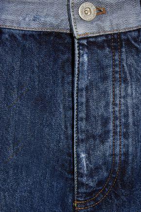MIU MIU Cropped lace-trimmed high-rise straight-leg jeans