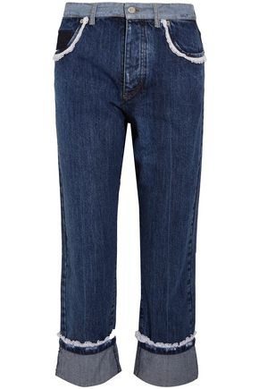 MIU MIU Cropped lace-trimmed high-rise straight-leg jeans