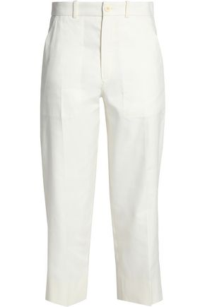 CHLOÉ Cropped linen and cotton-blend twill tapered pants