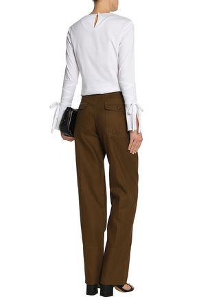 CHLOÉ Linen and cotton-blend twill straight-leg pants