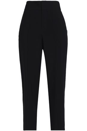CHLOÉ Pompom-embellished crepe tapered pants