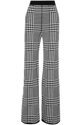 BALMAIN Houndstooth stretch-knit wide-leg pants